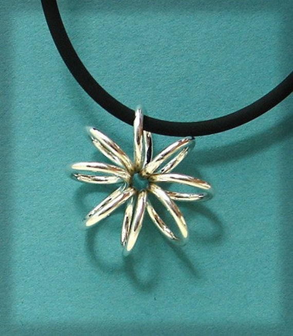 Sterling Silver Handmade Flower or Snowflake Coil Pendant on 18 Inch Rubber Cord