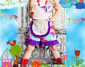 HAPPY HILLS - Apron Shorts -- Available in Sizes 6m 12m 18m 2T 3T 4T 5 6 7 8