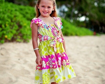Girls Summer Dress - Sundress -  Tropical Dress