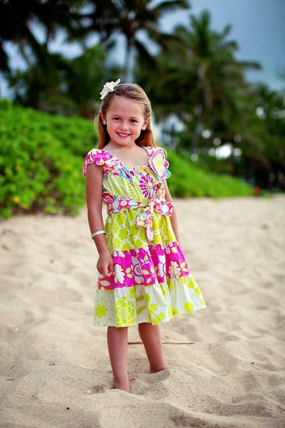 Girls Summer Dress - Sundress -  Tropical Dress