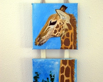 Giraffe mini canvas painting in acrylic with ribbon-perfect for a nusery x