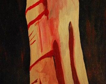 Original acrylic on canvas paper - self harm