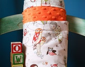 Orange Dot Minky and Designer Alexander Henry's Spotted Owl in Natural Stroller Baby Blanket