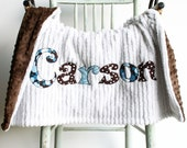 Monogrammed Baby Blanket in RAINDROP, Brown Minky and White Chenille, Personalized with Your Baby Boy's First Name in Designer Fabric