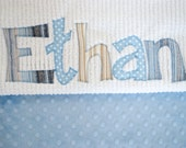 Monogrammed Baby Blanket in SANDSTONE, Baby Blue Dot Minky and White Chenille, Personalized with Your Baby Boy's First Name in Fabric