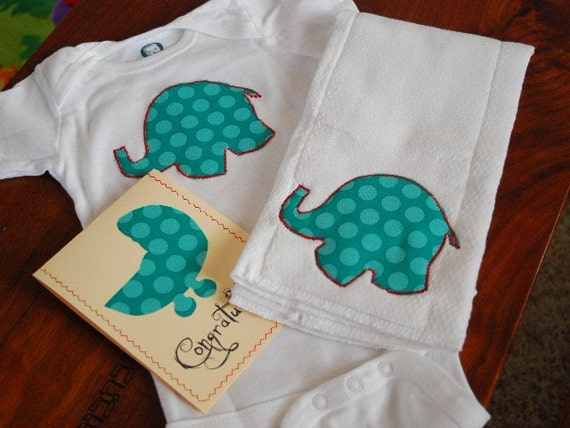 The Eclectic Elephant on Blue Polka Dot Gift Set, Organic Cotton Onesie and Burp Cloth