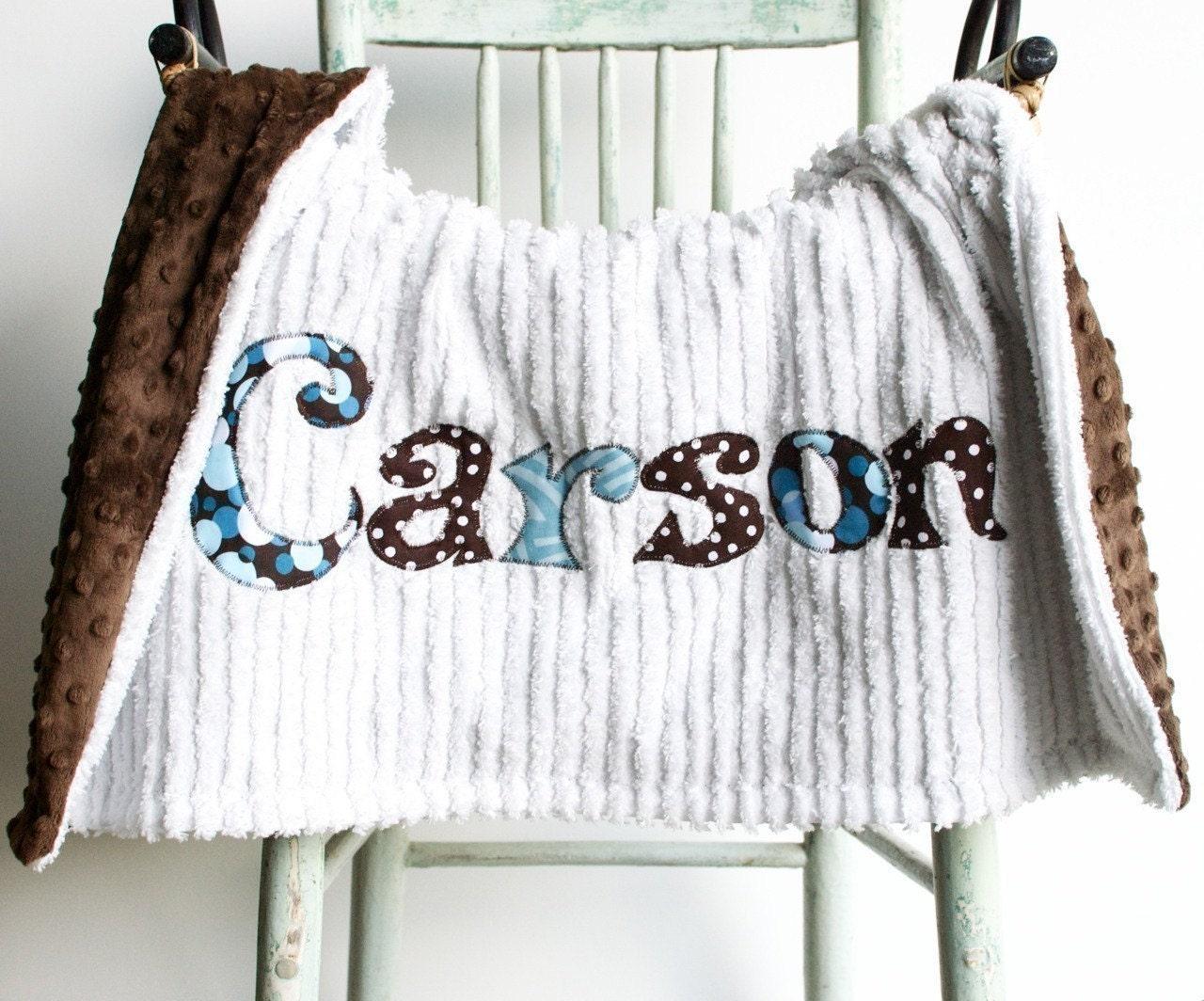 Monogrammed Baby Blanket In Raindrop Brown Minky By