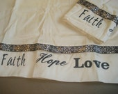 Faith Hope Love Personalized Set of 2 Pillowcases Pillow Cases READY TO SHIP