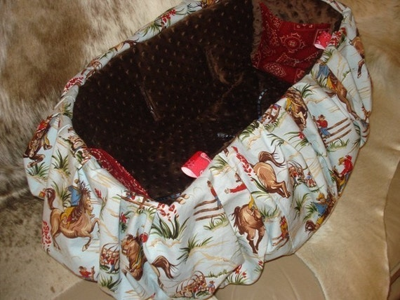 Shopping Cart Cover for Toddler or Baby in Bucking Bronco Western Cowboy Print with Brown Minkee Minky Dot Seat