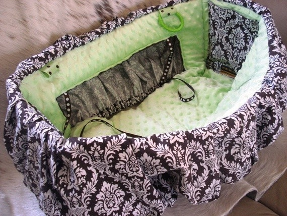 Shopping Cart Cover for Toddler or Baby in Brown Damask Green Minkee Minky Seat