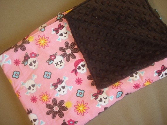 SALE SALE SALE Pink Brown Blue Skulls Robert Kaufman Cool Cords Stroller Blanket Free Personalization