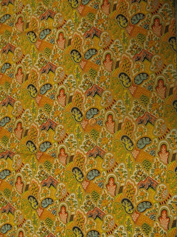 Vintage Paisley Flower and Abstract Pattern Design Cotton Fabric 1 1/4 yd