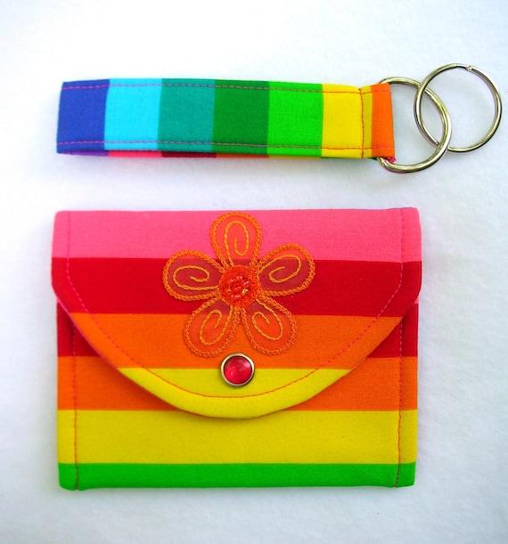 Mini Wallet and Keychain Set / Rainbow w/ Orange Flower