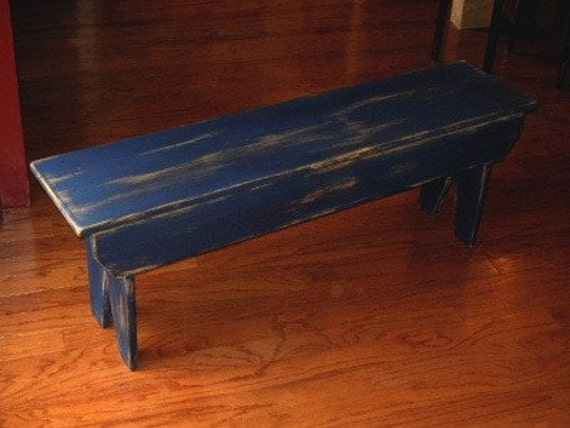 48 Inch Primitive Country Bench Solid Wood By Blackberryfurniture