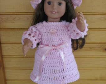 Crochet Pink Dress set for the American Girl Doll