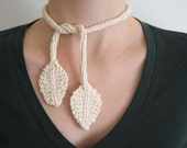 CLEARANCE Fluttering Leaves - Organic Leaf Lariat (Cream)
