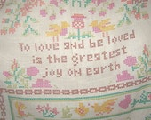 Vintage Faux Needlepoint Heirloom Drapes Curtains Old Sayings Proverbs