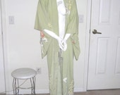 ique Vintage Japanese Kimono Geisha Costume Outfit Celery Green Floral