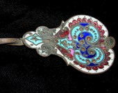 ANTIQUE 1800s Rare FRENCH CHAMPLEVE Sugar Berry Spoon 19th Century Enamel Brass