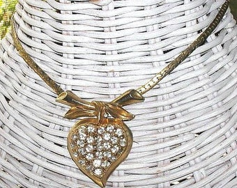 Vintage 40s Rhinestone Heart Pendant Necklace Coro Maybe