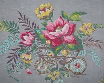 Vintage Floral Barkcloth Fabric Drapery Panel Fabric Destash Wheelbarrow Bouquet