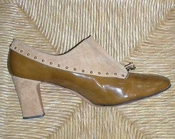 Vintage Robert Evans Suede Leather Zipper Shoes Studded Spectator Pumps Booties