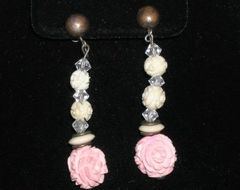 Antique Vintage Carved Rose Earrings Sterling Screw Backs Cream Pink