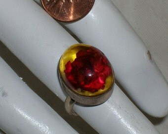 Vintage Mexican Studio Artisan Sterling Dried Flower Statement Ring 6