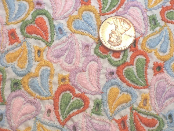 Vintage 1930s Embroidered Silk Eyelet Heart Fabric Embroidered Couture Fabric 38 Wide