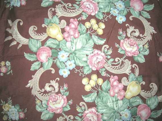 Vintage 1930s French Country Fabric English Fruit Flowers Cotton Curtain Drape Panel