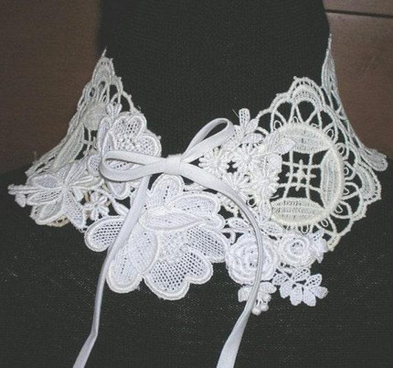 OOAK Vintage Lace Neck Ruff Lace Collage Necklace Bridal Collar