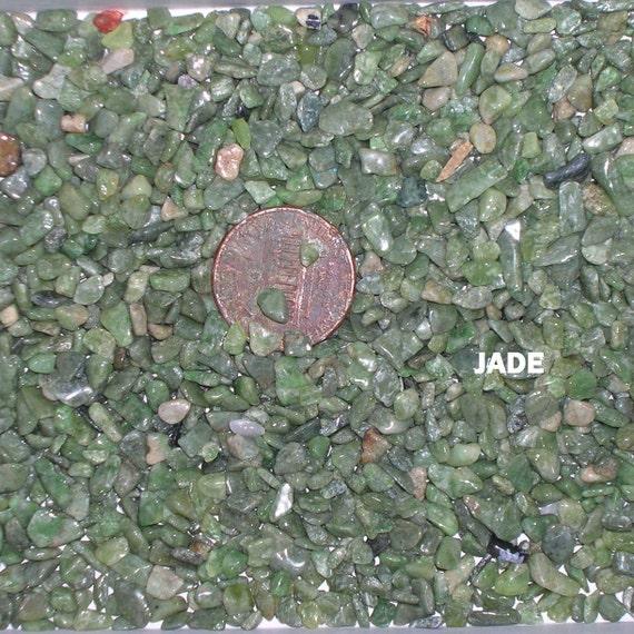 1 oz Vintage Tumbled Jade Gemstone Chips Undrilled No Hole Crushed Jade Stones Mosaics Inlay Wiccan Healing