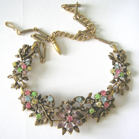Vintage Rhinestone Fruit Salad Flower Link Necklace Unsigned ART