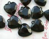 SALE Black faceted Heart gem charms 10pcs Size-M