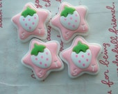 SALE Chunky Star with Strawberry on top cabochons 4pcs SET C (ST)