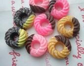 SALE Miniature Doughnut cabochons Set D 8pcs
