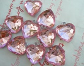 SALE PINK Clear faceted Heart gem charms 10pcs Size-M