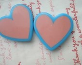HUGE heart Beads 2pcs Pink with Blue frame