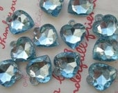 SALE Small Clear BLUE faceted Heart gem charms 20pcs