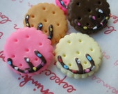 SALE Round Cookie with Chocolate decoration Set 5pcs