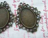 SALE Lovely SOLID BRASS Oval cameo setting frame 2pcs Dark Bronze