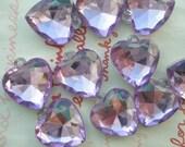 SALE Clear PURPLE faceted Heart gem charms 10pcs Size-M