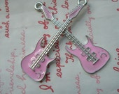 SALE Alloy PINK Guitar charms pendant 2pcs