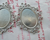 Lovely SOLID BRASS Oval cameo setting frame 2pcs Platina Silver