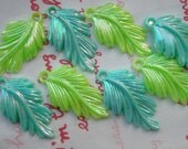 SALE AB Pearly Plastic Leaf charms 8pcs MIX