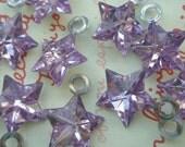 SALE Clear PURPLE Shiny Star gem charms 10pcs