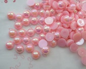 Shiny Pink Pearlized cabochons 5mm  3Grams  about 100pcs