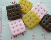 SALE Square Cookie Biscuit cabochons Set C 6pcs TA-C