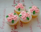 sale Small Floral Miniature Cupcake 4pcs pink flowers on top