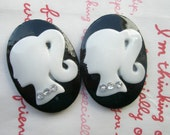 SALE Oval BARBIE cameo cabochons with rhinestones 2pcs 35mm x 25mm Black White